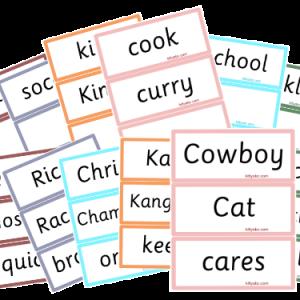 Cowboy Cat & Friends /k/ Flash Cards
