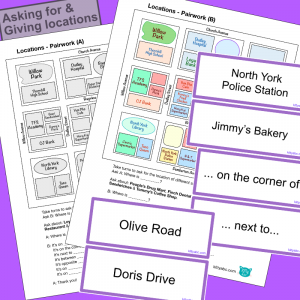 Locations – Information Gap Pairwork Plus Shops, Streets & Phrases Flash Cards